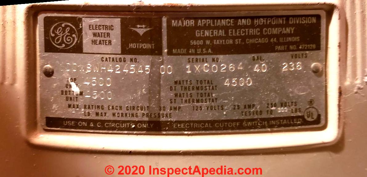[DIAGRAM_4PO]  Hotpoint Water Heater Age or Manuals | Hot Water Heater Wire Diagram For Hotpoint |  | InspectAPedia.com